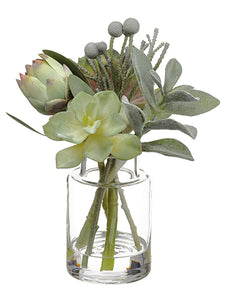 "10"" Echeveria/Protea/Brunia in Glass Vase Green Gray (pack of 2)"