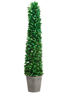 "39"" Tea Leaf Cone Topiary in Tin Pot Green (pack of 2)"