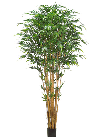 9' Tropical Bamboo Tree w/2752 Leaves in Pot Green (pack of 2)