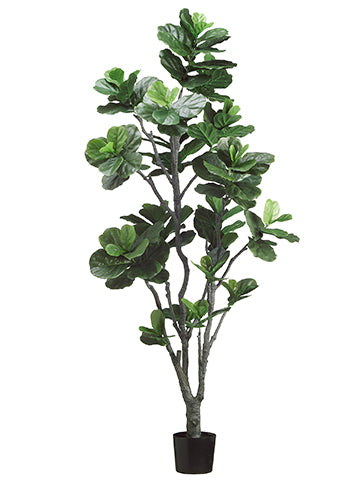 7' Fiddle Leaf Tree with PU Trunk and 152 Leaves in Plastic Pot Green (pack of 2)