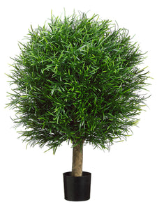 "23.6""D Plastic Podocarpus Ball Tree in Pot Green (pack of 2)"