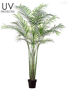 "96"" UV Protected PE Areca Palm Multi Trunk Tree in Pot (knock-down packing) Green (pack of 2)"