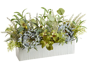 "12""Hx12""Wx24""L Olive/Sunflower /Eucalyptus in Tin Planter Green (pack of 2)"