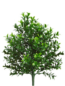 "12"" Plastic Boxwood Bush with 106 Cluster Leaves Green (pack of 12)"