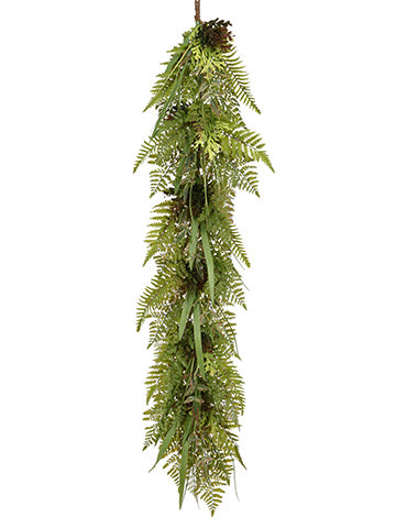 5' Soft Plastic Fern/Grass/ Boxwood Garland Green Burgundy (pack of 2)