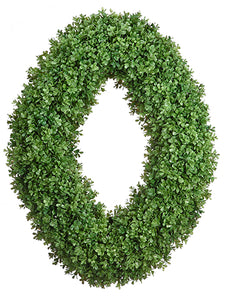 "24""Wx32""L Boxwood Oval Wreath  Green (pack of 1)"