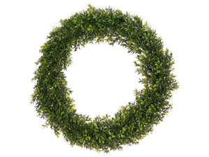 "24"" Round Boxwood Wreath  Two Tone Green (pack of 2)"