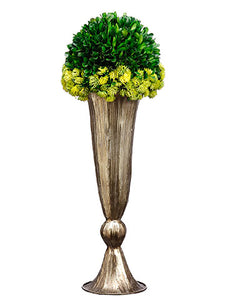 "20""Hx7""Wx7""L Preserved Boxwood Orb in Metal Vase Green (pack of 1)"