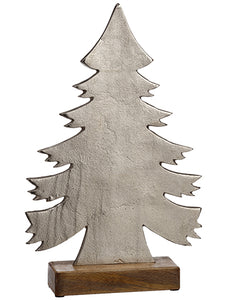 "17"" Aluminum Chsristmas Tree With Wood Base Silver (pack of 2)"