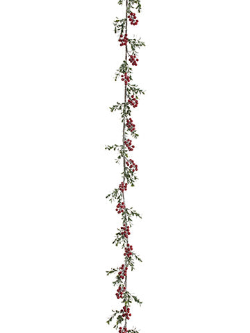 5' Iced Berry/Boxwood Garland  Red (pack of 4)