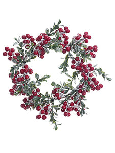 "10"" Iced Berry/Boxwood Wreath  Red (pack of 4)"