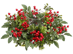 "6.5""Hx15""D Boxwood/Berry Centerpiece With Glass Candleholder Red Green (pack of 2)"