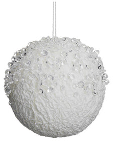 "4"" Iced Ball Ornament  White (pack of 12)"