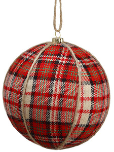 "5"" Plaid Ball Ornament  Red White (pack of 12)"