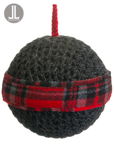 "4.75"" Knit/Plaid Ball Ornament Gray Red (pack of 12)"