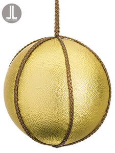 "6"" Faux Leather Ball Ornament  Gold (pack of 6)"