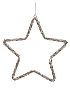 "8"" Diamond Star Ornament  Silver (pack of 12)"