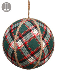 "8"" Plaid Ball Ornament  Green (pack of 2)"
