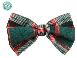 "4"" Plaid Bow Tie With Clip  Green (pack of 12)"
