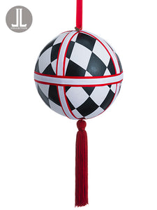 "6"" Harlequin Pattern Ball Ornament Black (pack of 6)"