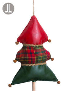 "11"" Plaid Tree Ornament With Bells Red Green (pack of 6)"