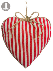 "7"" Linen Heart Ornament  Red Beige (pack of 6)"