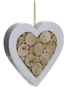 "5"" Wood Heart Ornament  White Brown (pack of 12)"