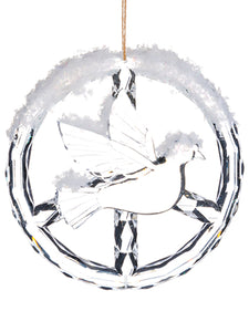 "4.72"" Snowed Bird Ornament  Clear Snow (pack of 24)"