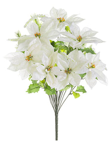 "25.5"" Poinsettia/Holly/Pine Bush White Green (pack of 6)"