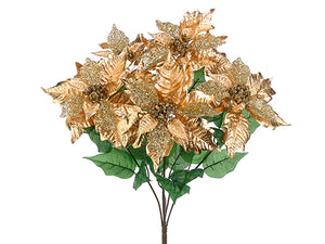 "21"" Glittered Metallic Poinsettia Bush x5 Gold (pack of 12)"