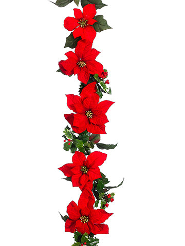 6' New Majestic Poinsettia/Holly Garland Red (pack of 4)