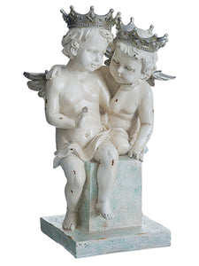 "15""Hx10""W Sitting Cherub With Crown Cream Aqua (pack of 1)"