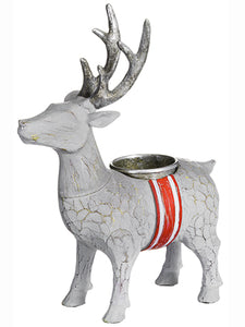 "7.75"" Reindeer Candleholder  Cream Red (pack of 2)"