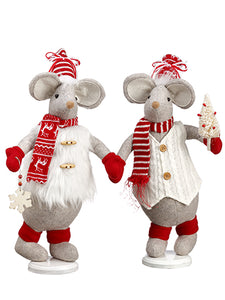 "17"" Mr. And Mrs. Mouse (2 Ea/set) Gray Red (pack of 3)"