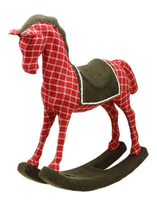 "22.85"" Plaid Rocking Horse  Red Green (pack of 2)"