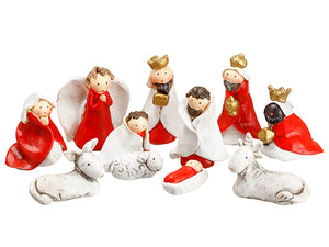 "0.5""-2"" Nativity Set (10 ea/set) White Red (pack of 2)"