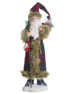 "18"" Santa With Gift Bag  Gray Red (pack of 1)"