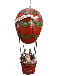 "14"" Santa Hanging Hot Ballon  Red Green (pack of 2)"