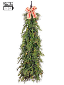 "40"" Battery Operated Pine/Juniper Topiary With Light Green (pack of 1)"