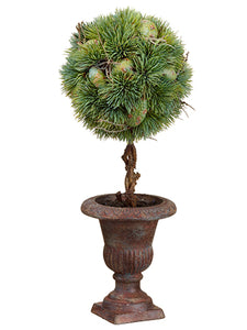 "17.5"" Pine Topiary in Paper Mache Urn Green (pack of 6)"