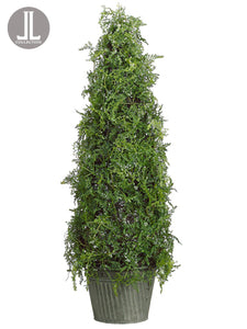 "30"" Iced Cedar Cone Topiary in Tin Pot Green (pack of 2)"