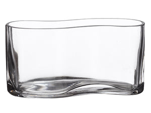 "4""Hx3""Wx8""L Flat Oval Glass Vase  (pack of 1)"