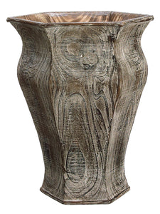 "17""Hx13.5""L Wood Hexagon Vase  Gray Brown (pack of 2)"