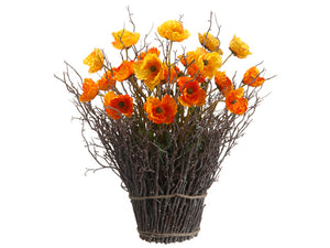 "22"" Poppy Standing Twig Bundle in Re-Shippable Box Yellow Orange (pack of 1)"
