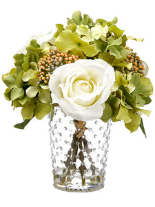 "10"" Rose/Hydrangea in Glass Vase With Re-Shippable Inner Box White Green (pack of 1)"