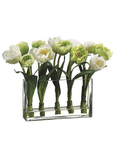 "13"" Tulip in Glass Vase in Re-Shippable Box White (pack of 1)"