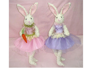 "19"" Sitting Ballerina Bunny (2 ea/set) Mixed (pack of 12)"