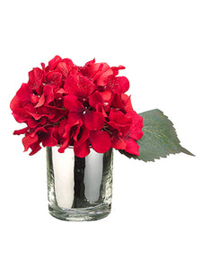 "7"" Glittered Hydrangea in Glass Vase 2 Each/Set in Re-Shippable Box Red Glittered (pack of 1)"