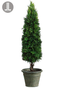 "20.5"" Cedar Cone Topiary in Tin Pot Green (pack of 1)"