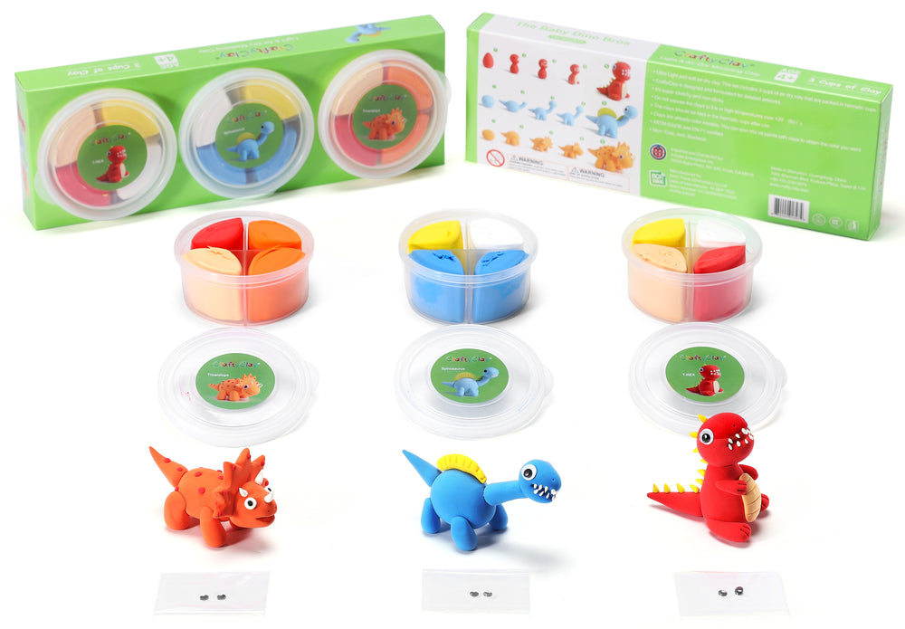The Baby Dino Bros | 12 Color Premium Quality Air Dry Modeling Clay Kit for Kids | Improves Spatial Thinking Capacity | Odorless & Non-Sticky